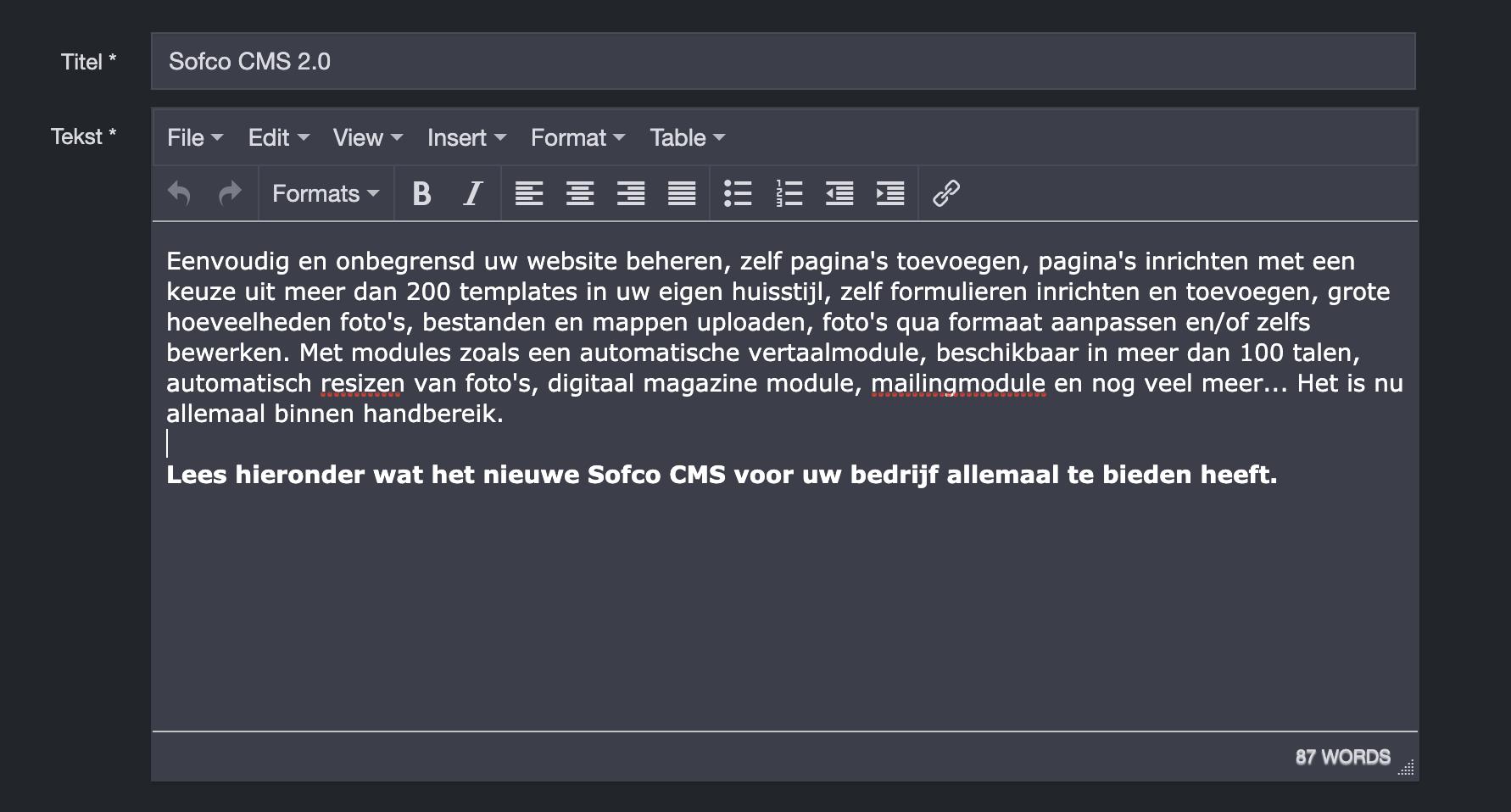 Maak prachtige inhoud met de geavanceerde tekst editor